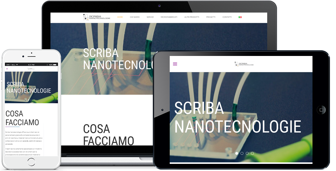 Realizzazione sito Internet Scriba Nanotecnologie by QuoLAB, Web Agency Bologna